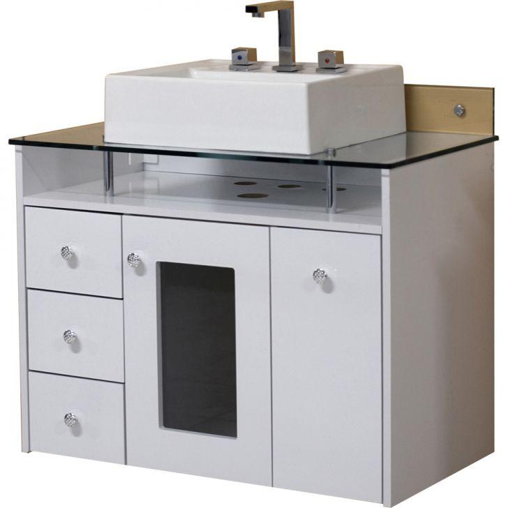 Tampo De Vidro Para Armario De Banheiro : Gabinete com tampo vidro e cuba havana ttf branco