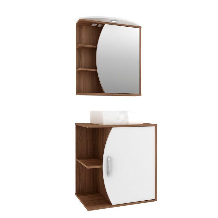 Foto 2 - Conjunto para Banheiro Duna II Nogal e Branco