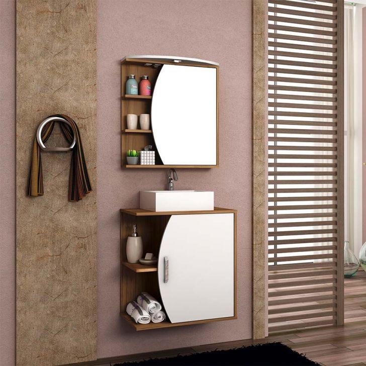 Foto 1 - Conjunto para Banheiro Duna II Nogal e Branco