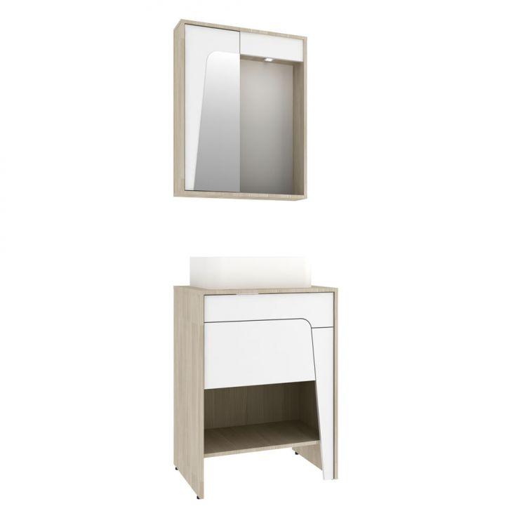 Foto 2 - Conjunto para Banheiro Elisa I Taeda e Branco