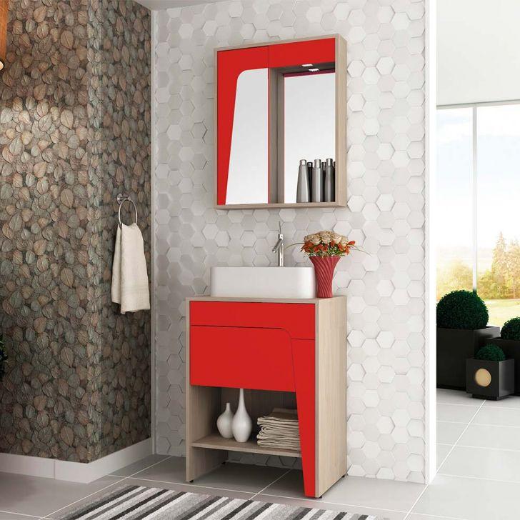 Conjunto para Banheiro Elisa I Taeda e Vermelho