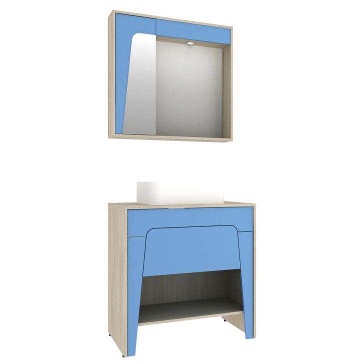 Foto 2 - Conjunto para Banheiro Elisa II Taeda e Azul Neon