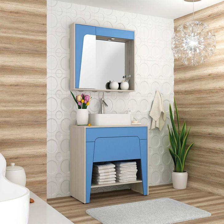 Foto 1 - Conjunto para Banheiro Elisa II Taeda e Azul Neon