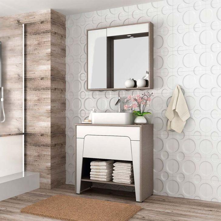 Conjunto para Banheiro Elisa II Tweed e Branco