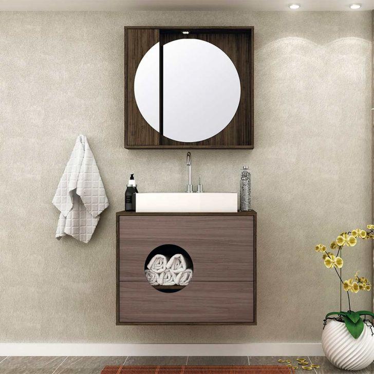 Conjunto para Banheiro Florença II Ameixa Negra e Gris Montano