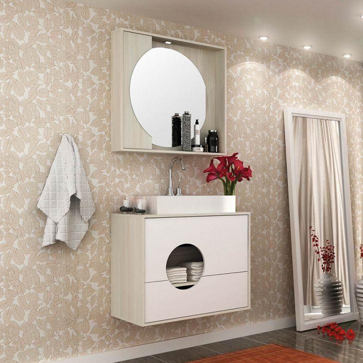 Conjunto para Banheiro Florença II Taeda e Branco