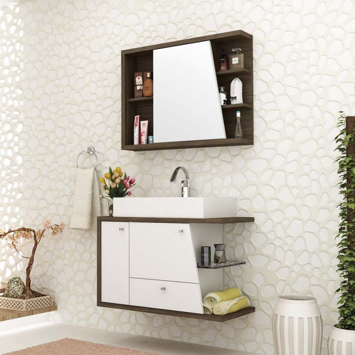 Foto 1 - Conjunto para Banheiro Viena II Ameixa Negra e Branco