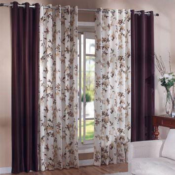 cortina para var o com ilh s iracema 1 80x2 00 tabaco com bege. Black Bedroom Furniture Sets. Home Design Ideas