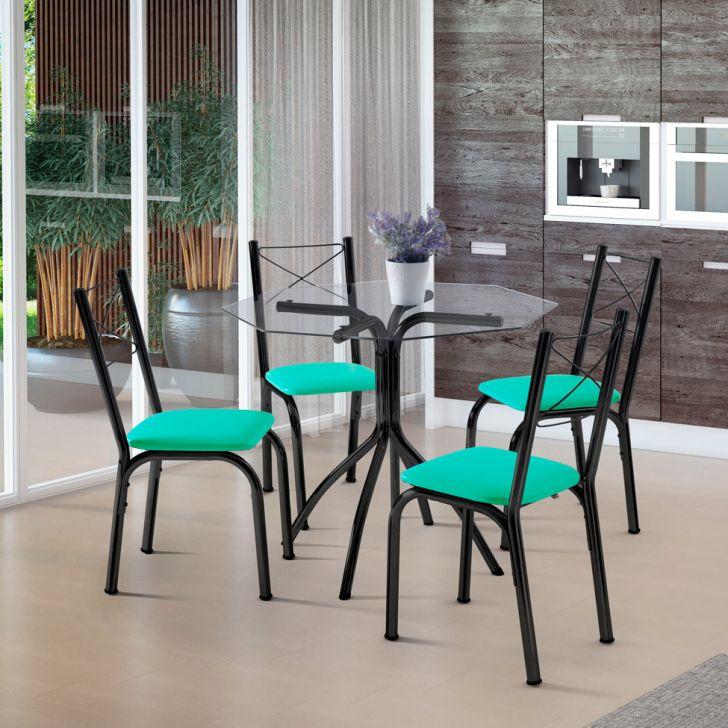 Conjunto de Mesa de Cozinha com 4 Cadeiras Samarah Couro Sintético Verde