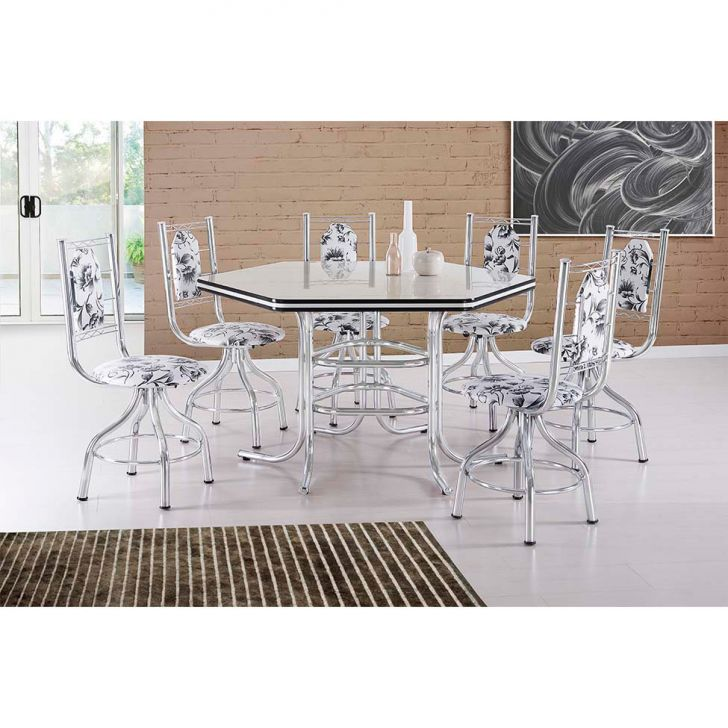 Conjunto de Mesa de Jantar 6 Cadeiras Zeus Damasco Branco