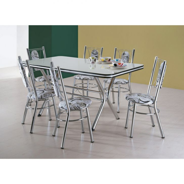 Conjunto de Mesa de Jantar com 6 Cadeiras Sevilha Branco e Damasco Bege