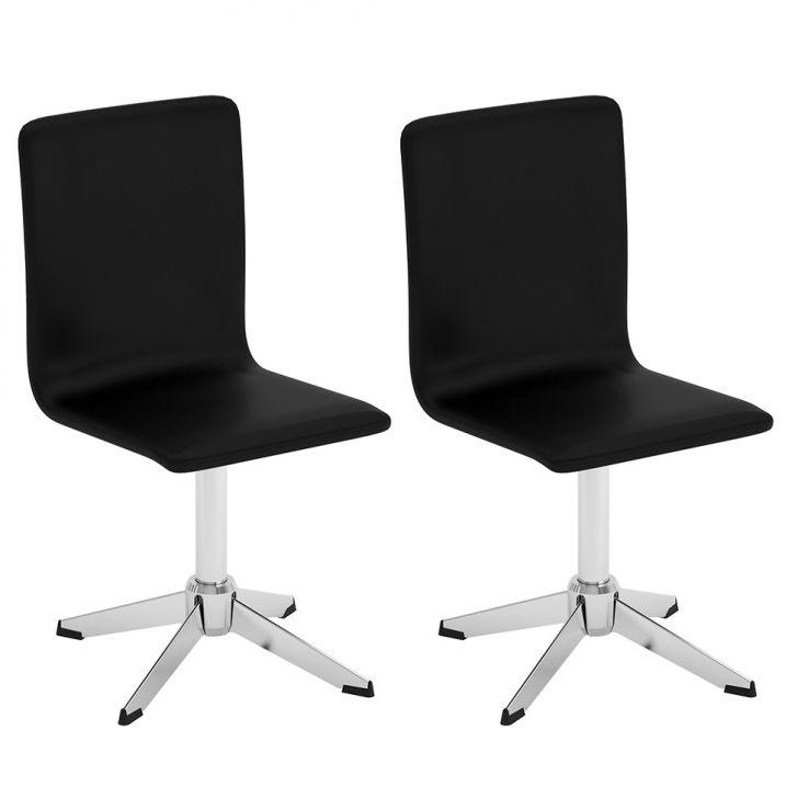 Conjunto com  2 Cadeiras Giratórias Eduarda Vinil Búfalo Preto