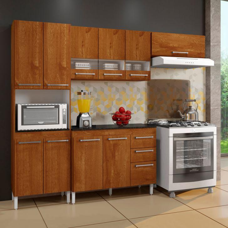 Cozinha Compacta Alice 10 PT 3 GV Caramelo