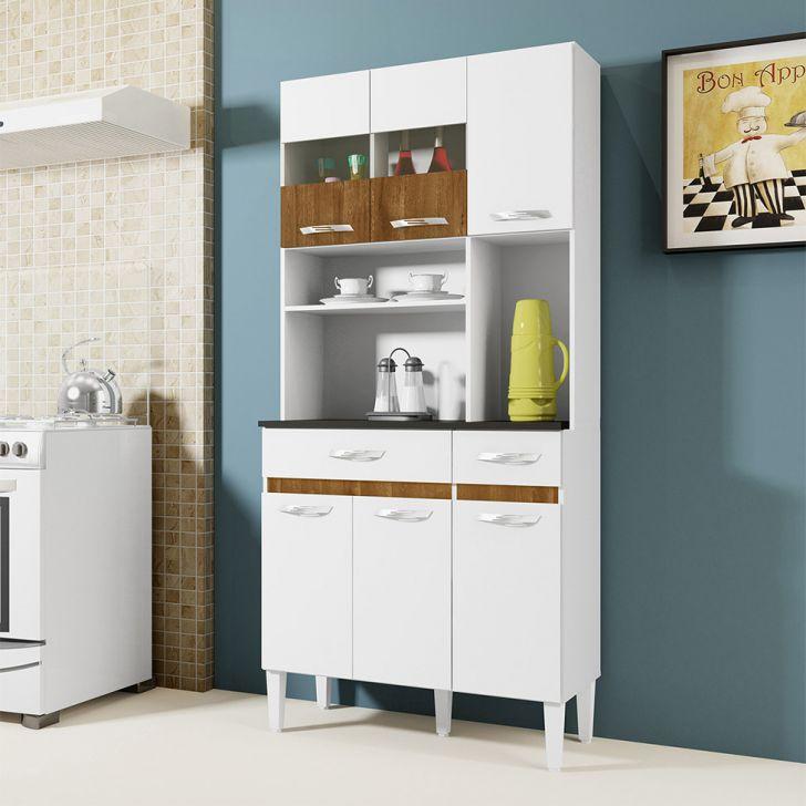 Cozinha Compacta Ônix 6 PT 2 GV Branco e Caramelo