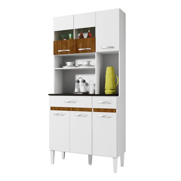 Foto 2 - Cozinha Compacta Ônix 6 PT 2 GV Branco e Caramelo