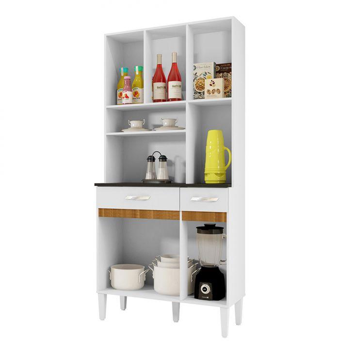 Foto 5 - Cozinha Compacta Ônix 6 PT 2 GV Branco e Caramelo