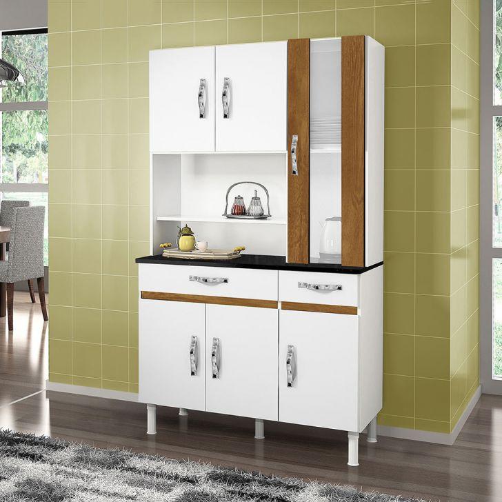 Cozinha Compacta Sampaio 6 PT 2 GV Branco e Caramelo