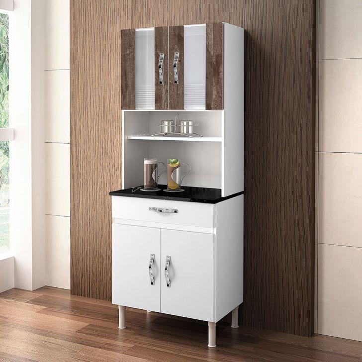 Cozinha Compacta Ventura 4 PT 1 GV Branco e Chocolate