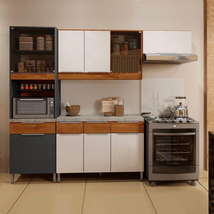 Cozinha Compacta Vitória 9 PT 4 GV Caramelo e Grafite