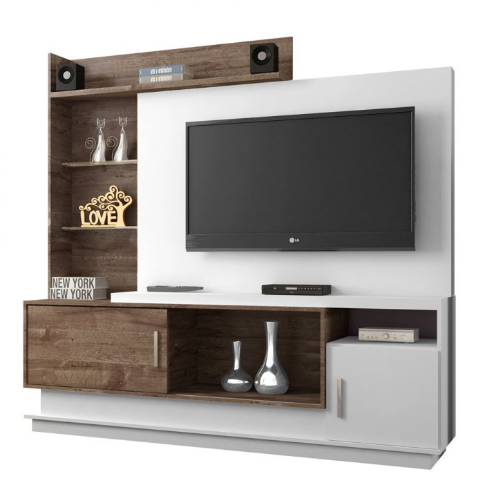 Estante para Home Theater Adustina Branco e Chocolate 178 cm