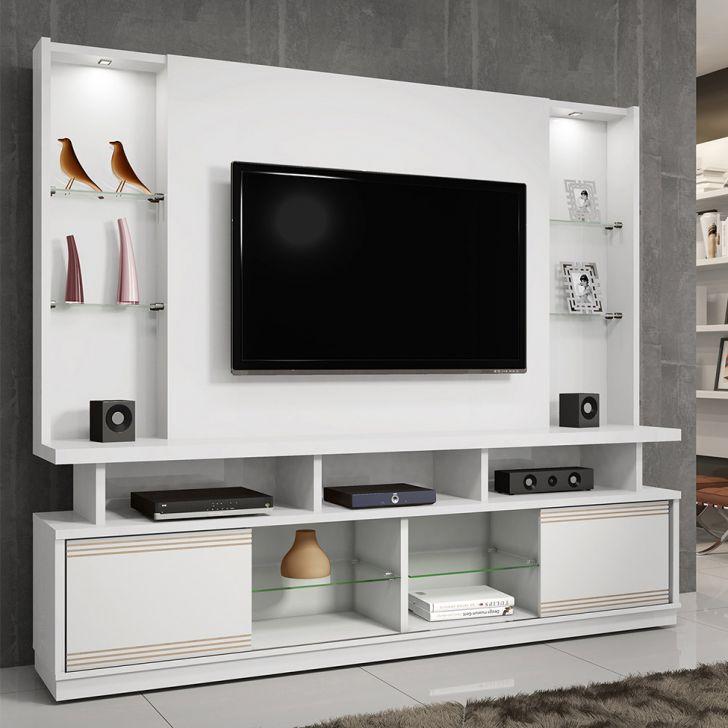 Estante para Home Theater Flex  55 Polegadas Maracás Branco e Chocolate 210 cm
