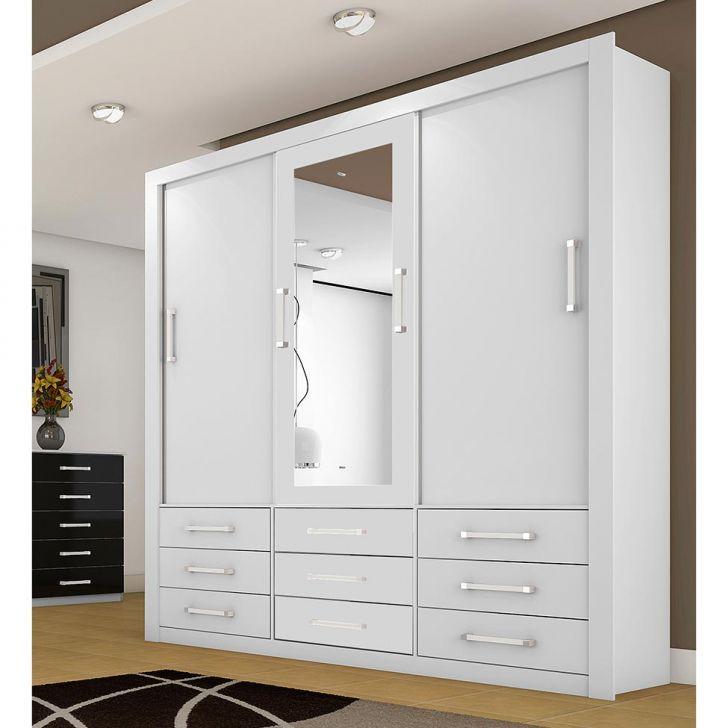 Guarda roupa casal com espelho anjos 3pt 9gv branco for Modelos de closet de dormitorio