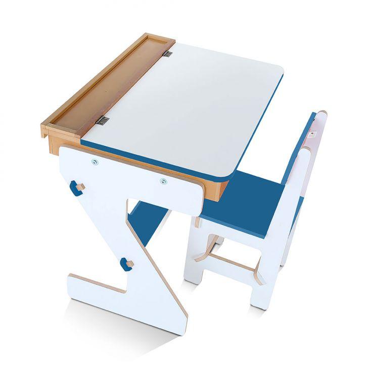 Mesa Versátil 4 Peças Branco e Azul