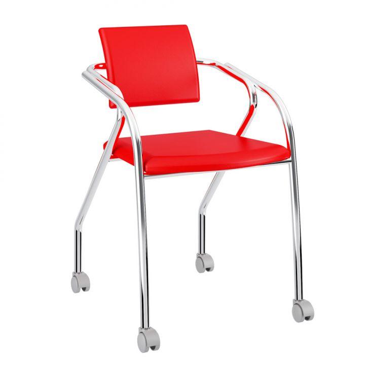 Cadeira De Escritório Cromada 1713 Vermelho Real e