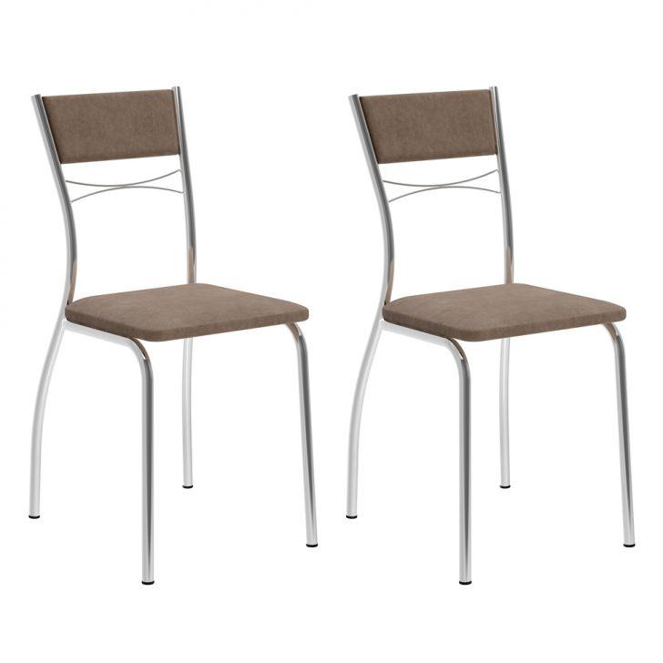 Conjunto 2 Cadeiras 1701 Camurça Conhaque