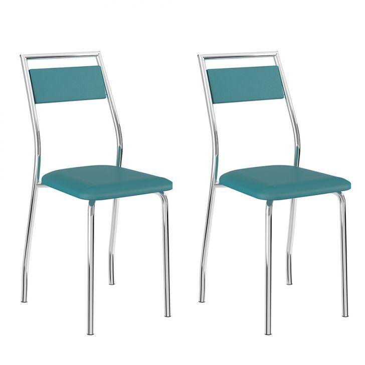Conjunto 2 Cadeiras 1717 Casual Napa Turquesa Cromado