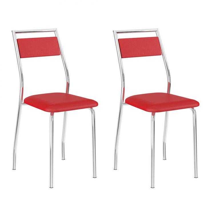 Conjunto 2 Cadeiras 1717 Casual Napa Vermelho Real Cromado