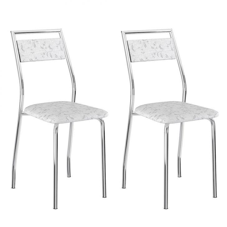 Conjunto 2 Cadeiras 1717 Casual Tecido Fantasia Branco Cromado