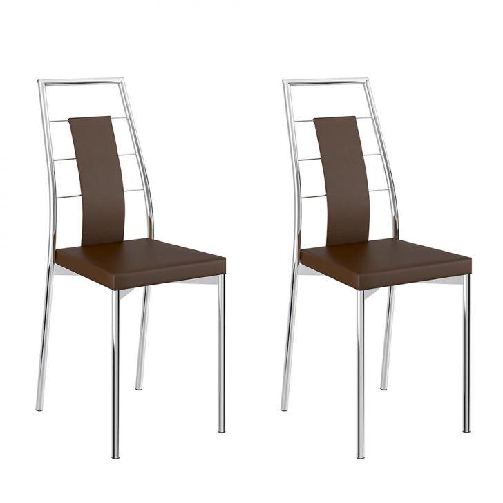 Conjunto 2 Cadeiras 1718 Clássica Courissimo Cacau Cromado
