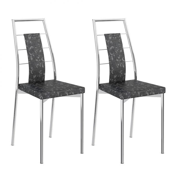 Conjunto 2 Cadeiras 1718 Clássica Tecido Fantasia Pretro Metalizadoo Cromado
