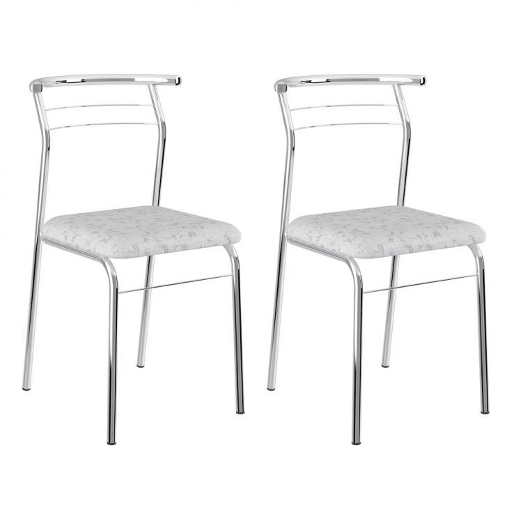 Conjunto 2 Cadeiras Cromada 1708 Fantasia Branco e