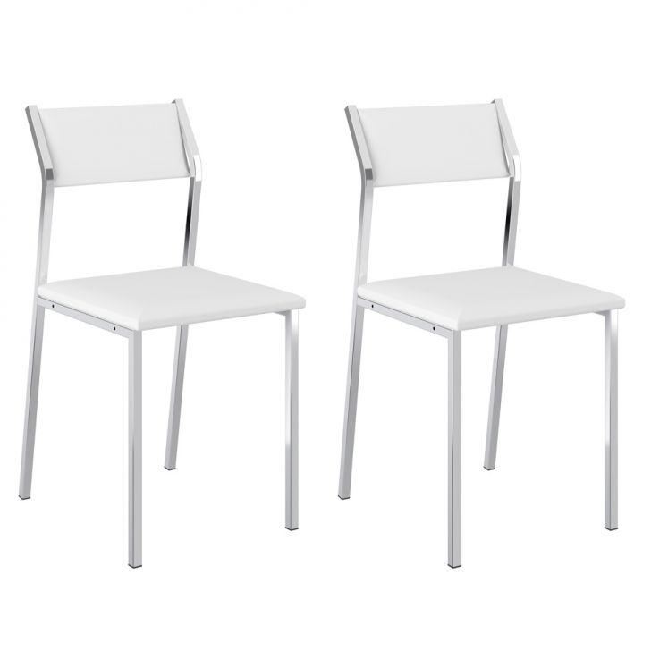 Conjunto 2 Cadeiras Cromada 1709 Branco e