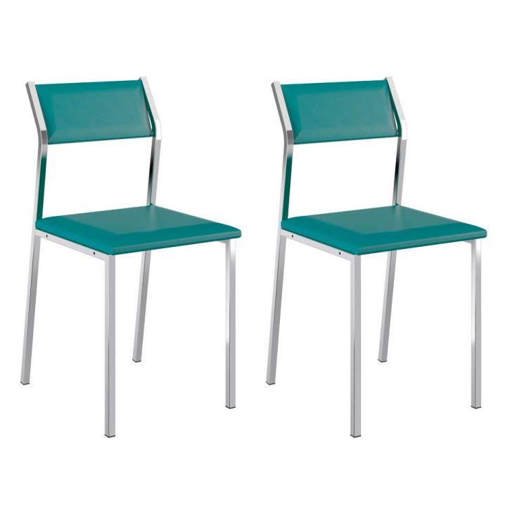 Conjunto 2 Cadeiras Cromada 1709 Turquesa e