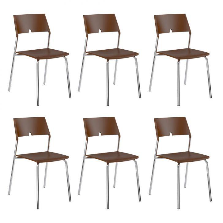 Conjunto 6 Cadeiras de Cozinha 1711 Cacau