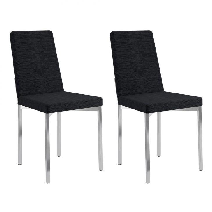 Conjunto com 2 Cadeiras Ariel Listrado Black