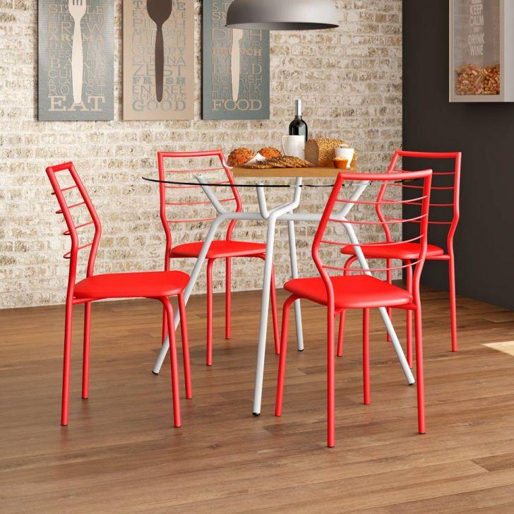 Conjunto de Mesa 1527 Vidro Incolor com 4 Cadeiras 1716 Casual Vermelha