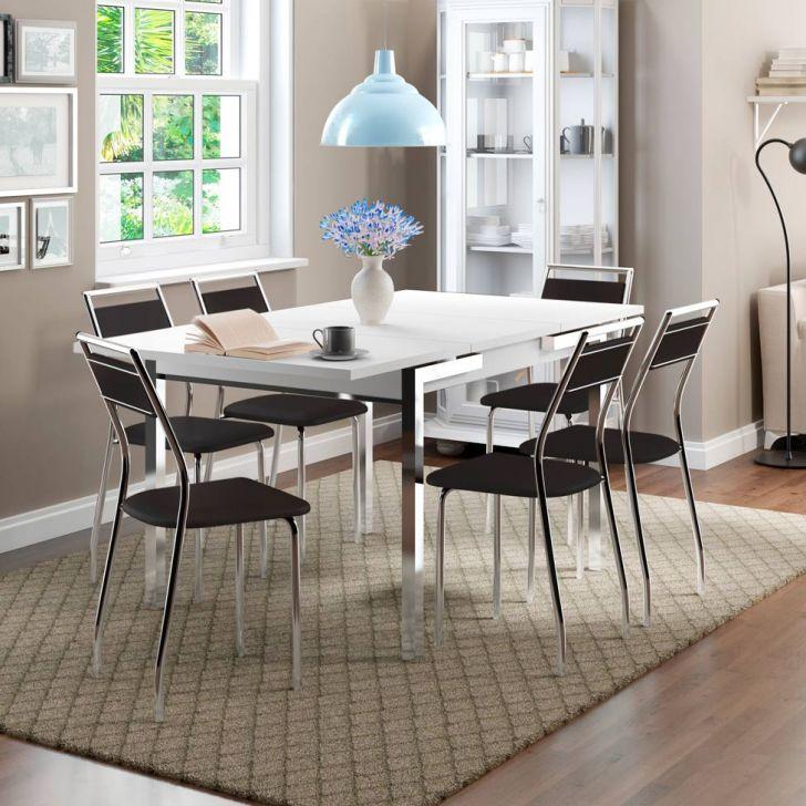 Conjunto de Mesa Contemporânea com 6 Cadeiras Casual Preto e Branco