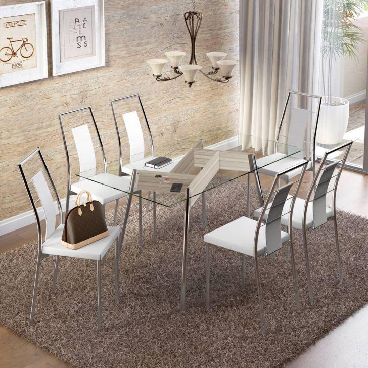 Conjunto de Mesa Retangular Anis com 6 Cadeiras Clássica Branco Cromado