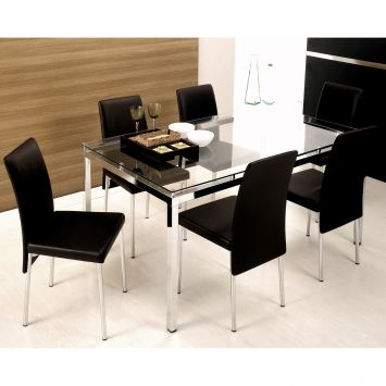 131a663a2 Conjunto de Mesa com 6 Cadeiras Bia Couríssimo Preto