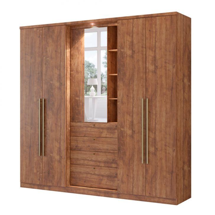 Guarda-Roupa Casal Zeus Com Espelho 5 PT 4 GV Native