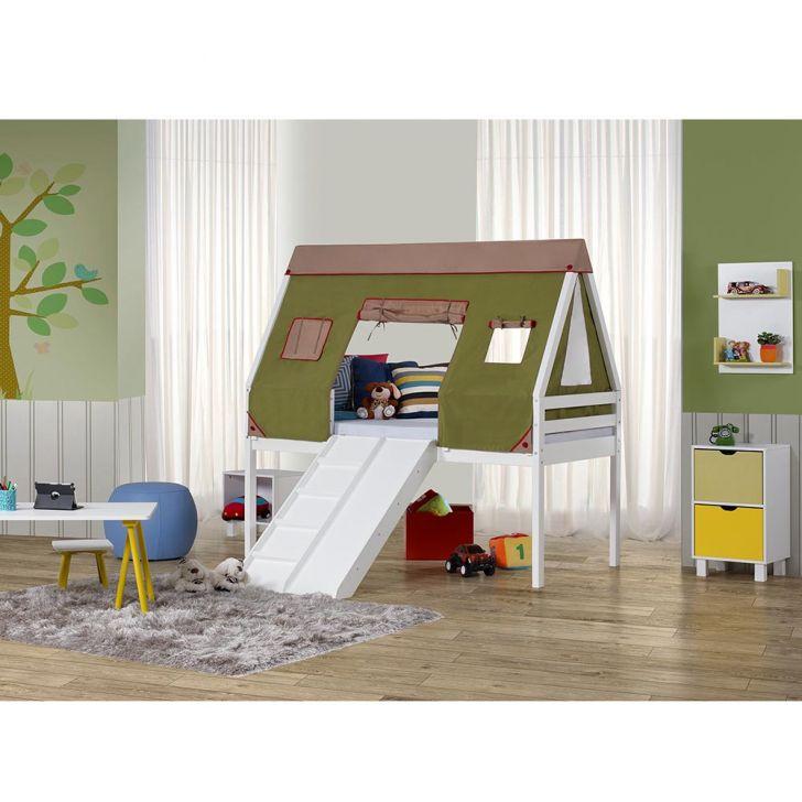 Cama infantil prime alta com escorregador e telhado cabana - Cama alta infantil ...