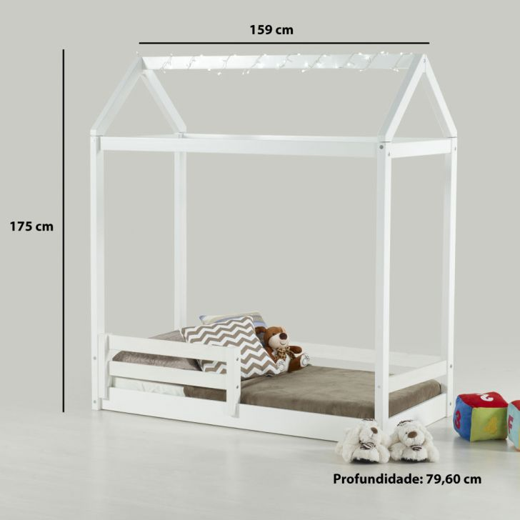 Mini cama montessoriano casinha com grade em madeira for Cama 3 4 medidas