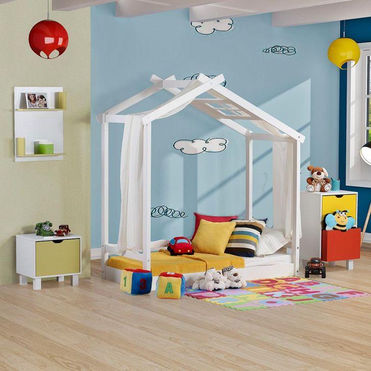 Mini Cama Infantil Montessoriano Com Telhado V Casinha Em