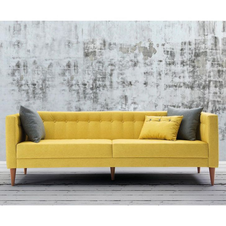 sof com 3 almofadas neon 1 63m estrutura eucalipto p s madeira maci a veludo animalle amarelo. Black Bedroom Furniture Sets. Home Design Ideas