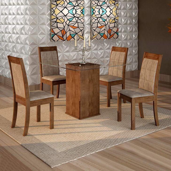 Conjunto de Mesa de Jantar Havana com 4 Cadeiras Vitória II Veludo Chocolate