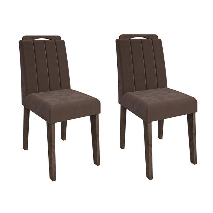 Conjunto com 2 Cadeiras Elisa Suede Marrocos e Chocolate